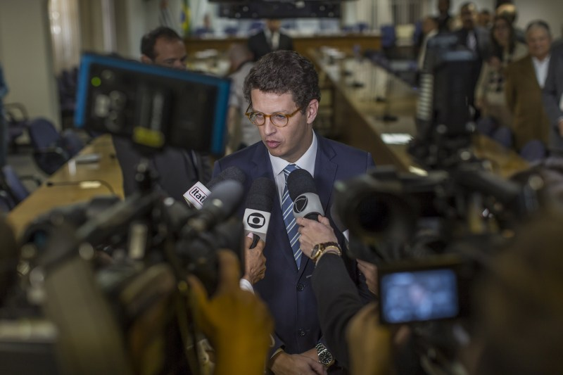 Ricardo Salles, Brazil's environment minister, speaks to journalists in Sao Paulo in August 2019. Activists say Salles is working to appease certain business sectors that form a crucial part of Bolsonaro's support base.