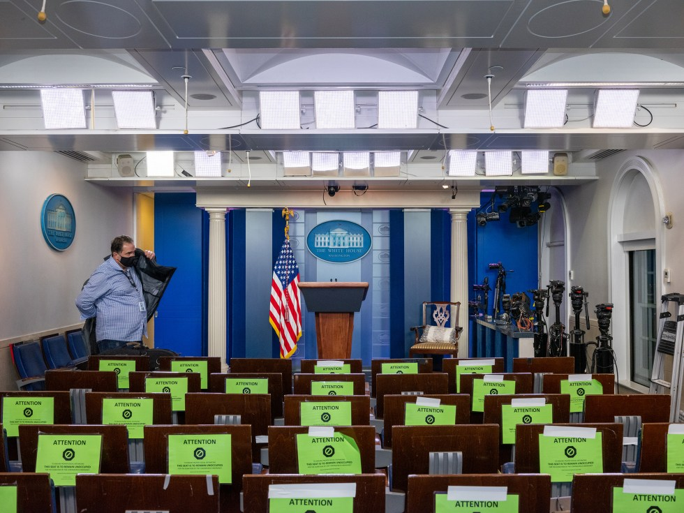 An empty White House Press Briefing Room room after the President delivered remarks on Nov. 5.