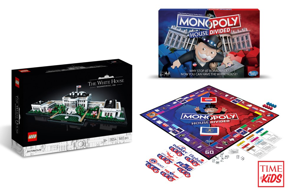 Picture of lego white house and monopoly house divided for toy guide.