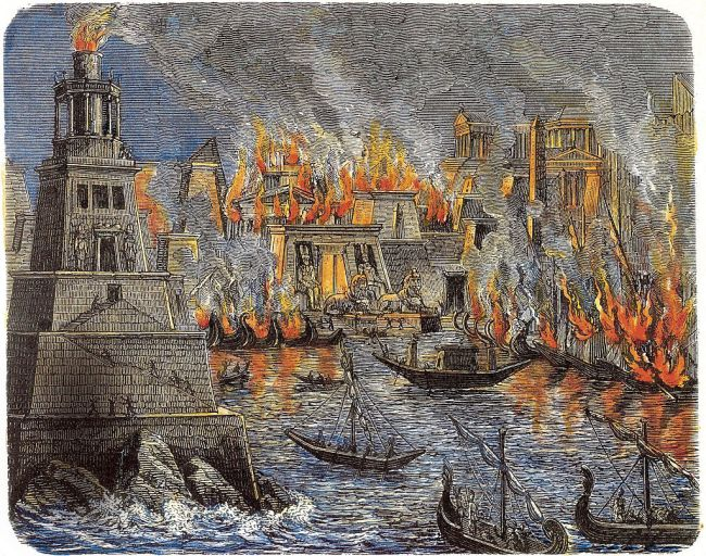 A 19th century illustration of the burning of the Library of Alexandria.