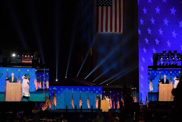 No es mi lugar ni el de Donald Trump declarar quién ganó estas elecciones.  Esa es la decisión del pueblo estadounidense.  - Joe Biden, en el Chase Center en Wilmington, Delaware, poco después de la medianoche del 4 de noviembre.