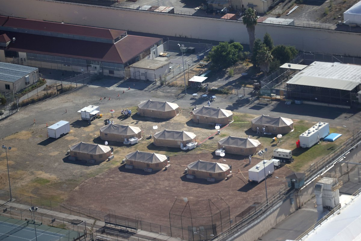 A view of an emergency care facility that was erected over the summer to treat inmates infected with COVID-19 at San Quentin State Prison in San Quentin, Ca.
