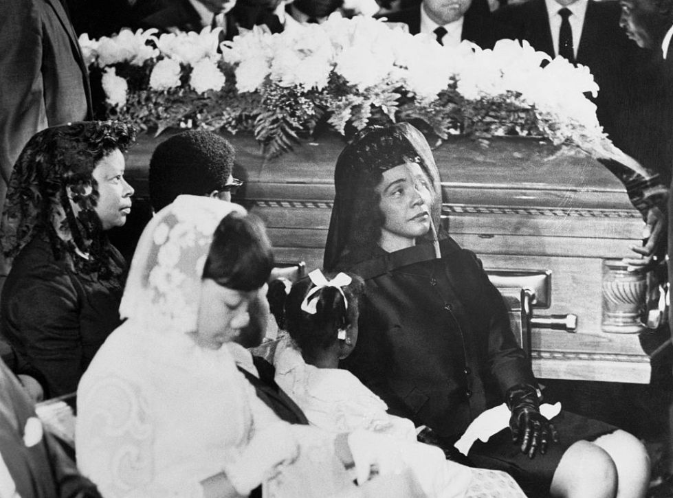 Coretta Scott King and Her Daughters near Coffin During Funeral