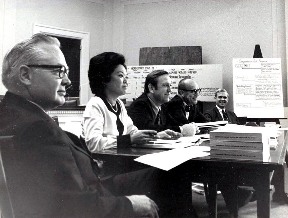 Patsy Takemoto Mink attending a subcommittee hearing/markup around 1971-1972.