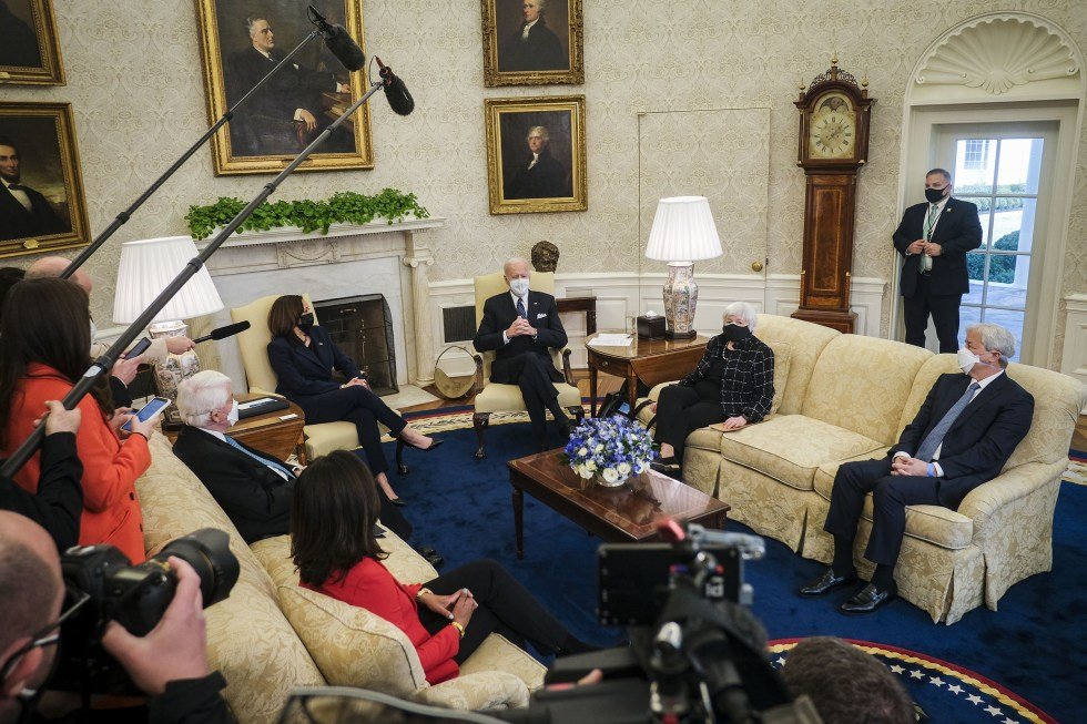 President Biden speaks with Vice President Kamala Harris and Secretary of the Treasury, Janet Yellen as they meet with business leaders at the White House on Feb. 9. Attending the meeting are Tom Donohue, CEO at the U.S. Chamber of Commerce, Jamie Dimon, Chairman and CEO of JPMorgan Chase, Doug McMillon, President and CEO of Walmart, Sonia Syngal, President and CEO of Gap, Inc. and Marvin Ellison, President and CEO of Lowe's Companies, Inc.