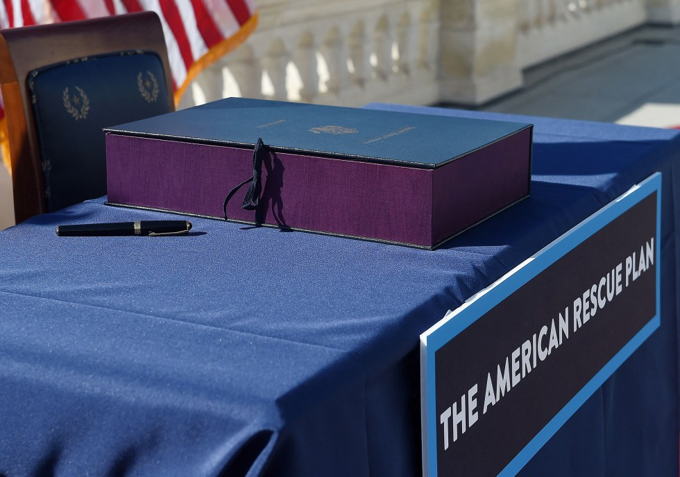 The Bill Enrollment for the American Rescue Plan Act before its signing ceremony, at the U.S. Capitol on March 10.