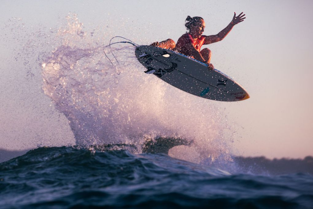 Carissa Moore of Hawaii surfing in Heat 3 of the Quarterfinals of the Rip Curl Newcastle Cup