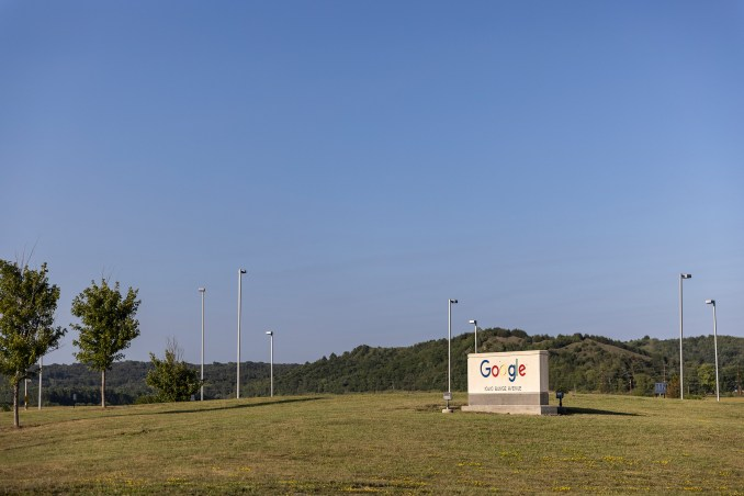 The entrance to the Google data center in Council Bluffs, Iowa on July 29, 2021.