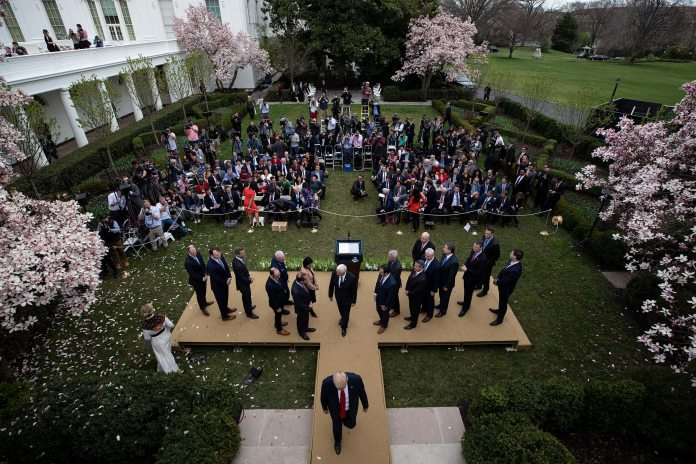 President Donald Trump departs after speaking about the coronavirus in the Rose Garden at the White House in Washington, D.C., on March 13, 2020.