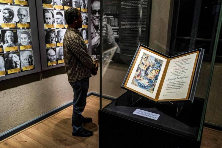 The Nobel Prize certificate of Naguib Mahfouz displayed at his museum in Cairo. Photo: AFP
