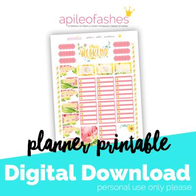 Planner Printable - Sunshine pink planner