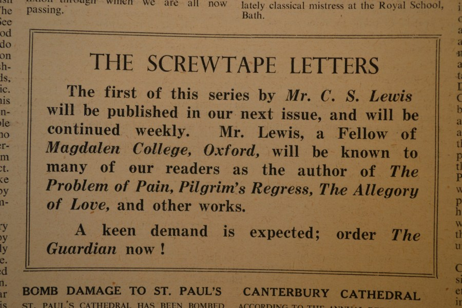 A Manuscript List and Timeline of The Screwtape Letters   A Pilgrim     A Manuscript List and Timeline of The Screwtape Letters   A Pilgrim in  Narnia