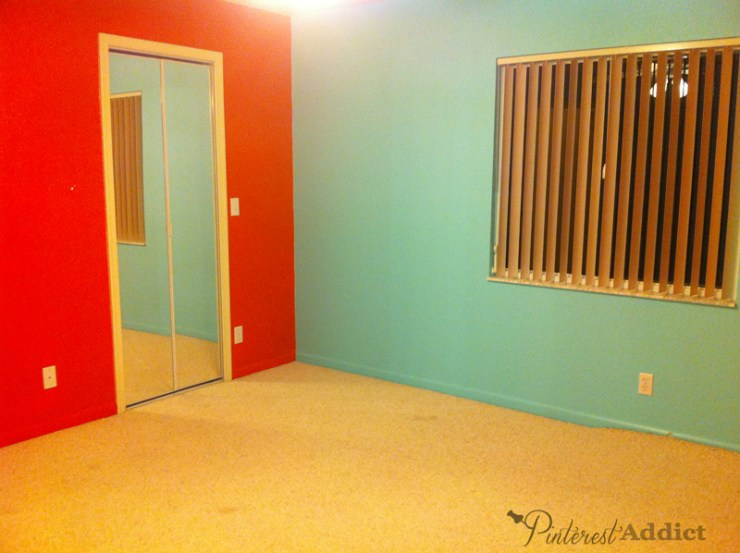 Teal and Red in what is now my daughter's bedroom. I can't even imagine how that came about.