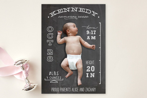 Chalkboard Stats Birth Announcement by Unless Someone Like You