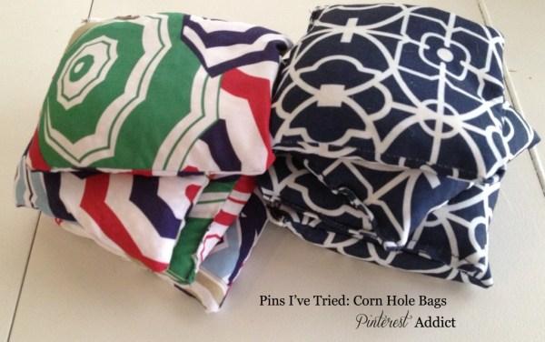 Pins I've tried- corn hole bags