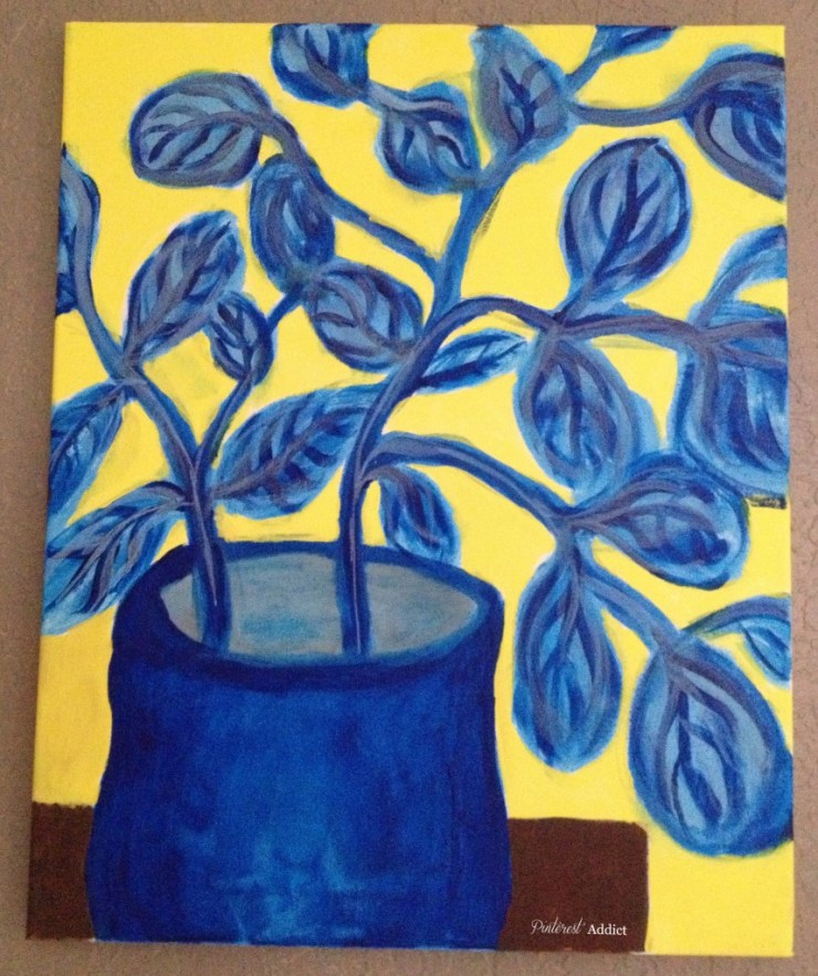 DIY Art - Blue leaves in pot - by me, the Pinterest Addict