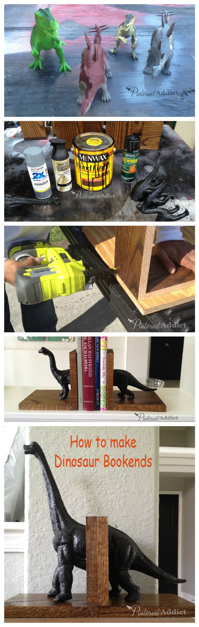 dinosaur bookends - how to make bookends using toys