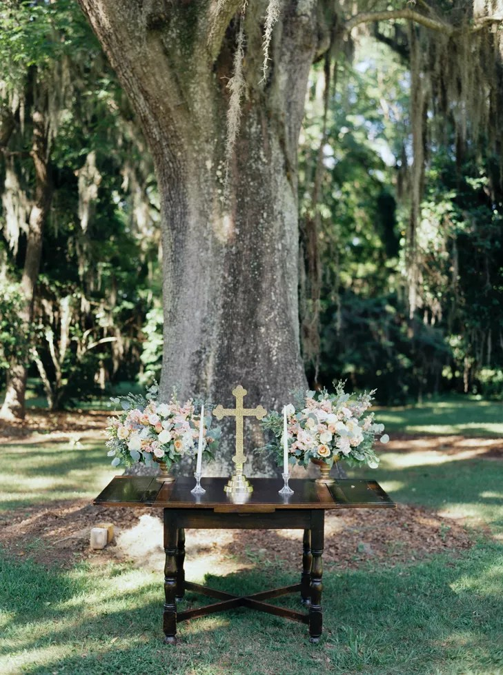 Outdoor Ceremony Altar With Gold Cross
