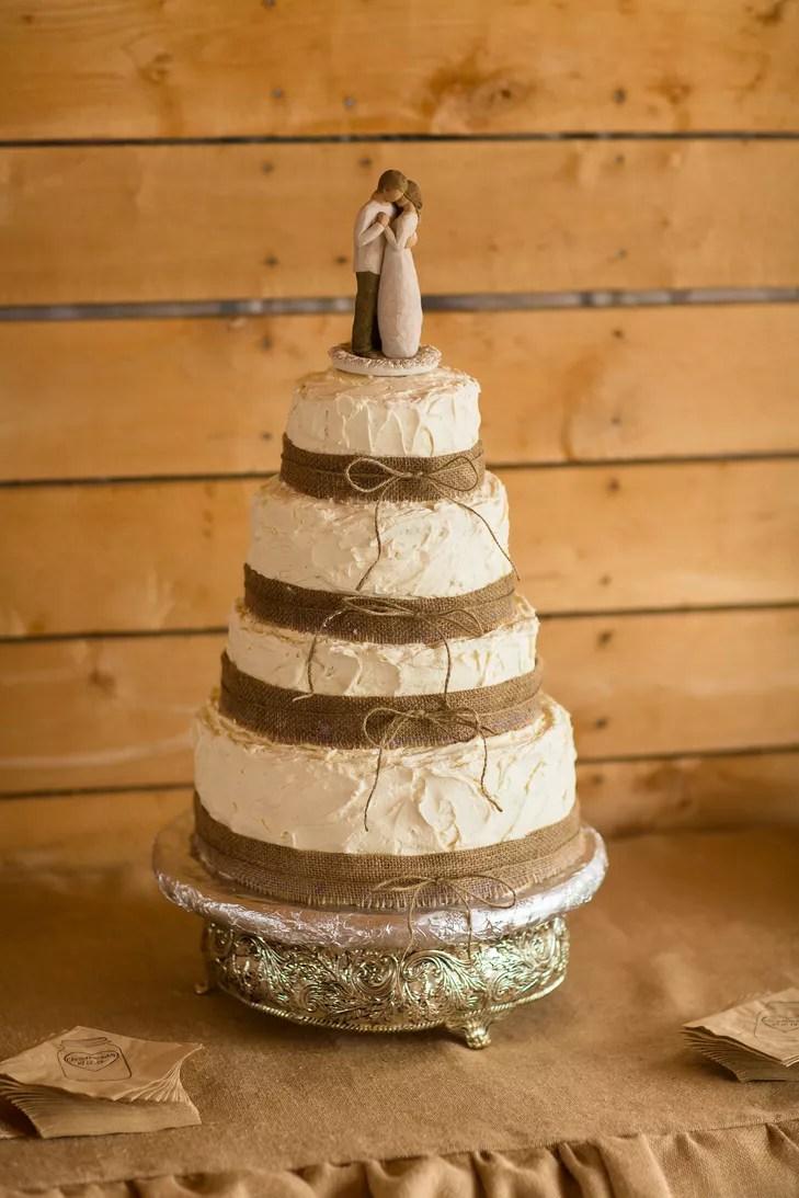 Ivory Wedding Cake Wrapped With Burlap