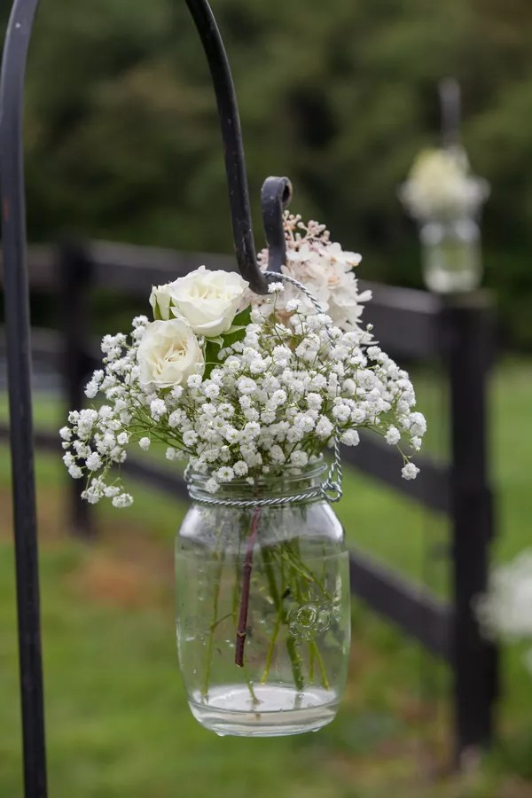 White Rose And Babys Breath Centerpiece