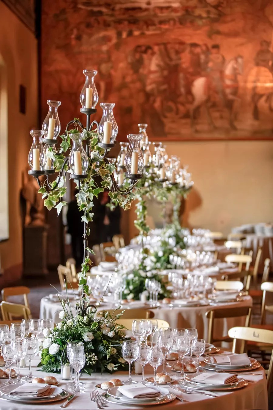 Candelabra Centerpieces With Ivy