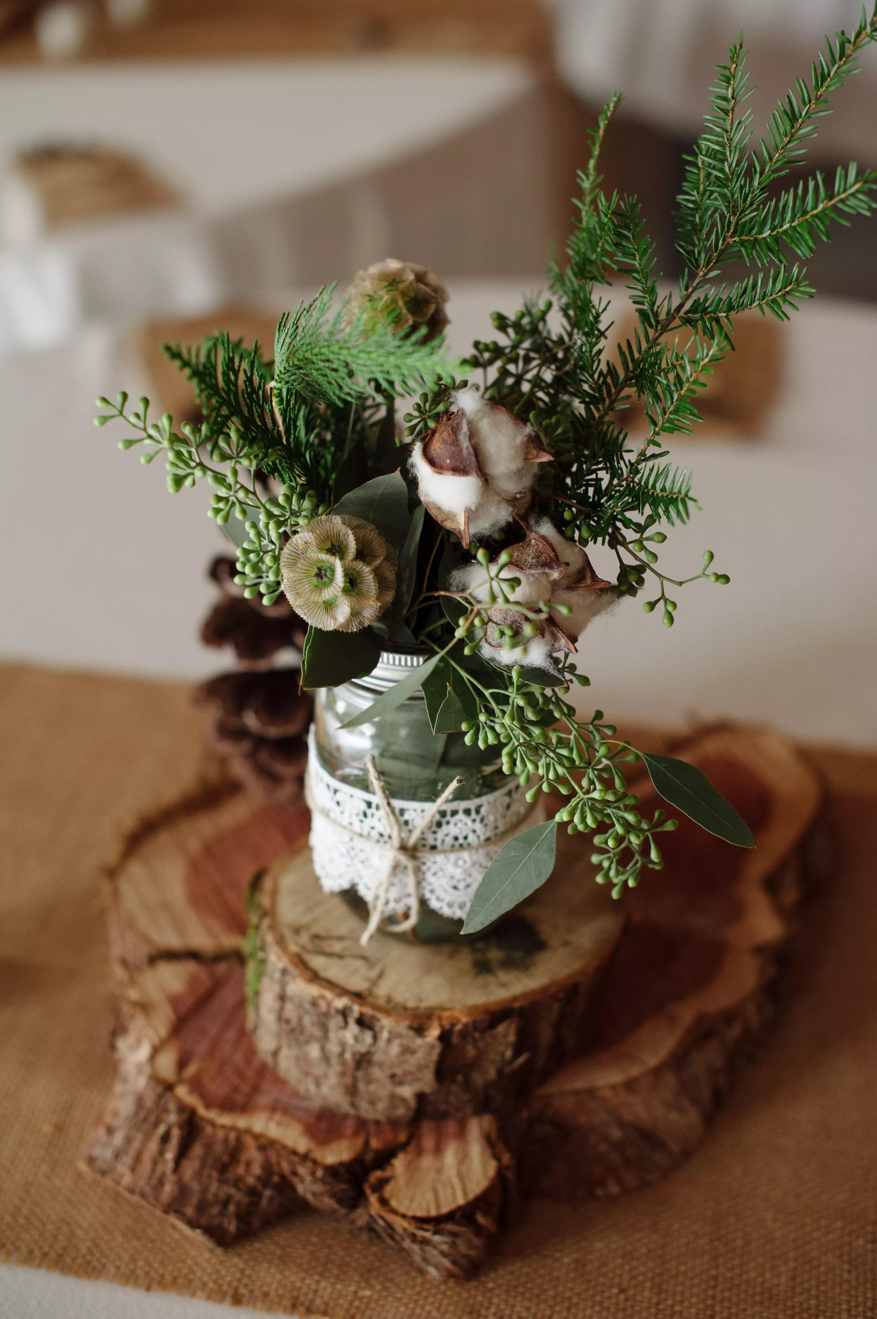 DIY Wood Slab And Mason Jar Centerpieces