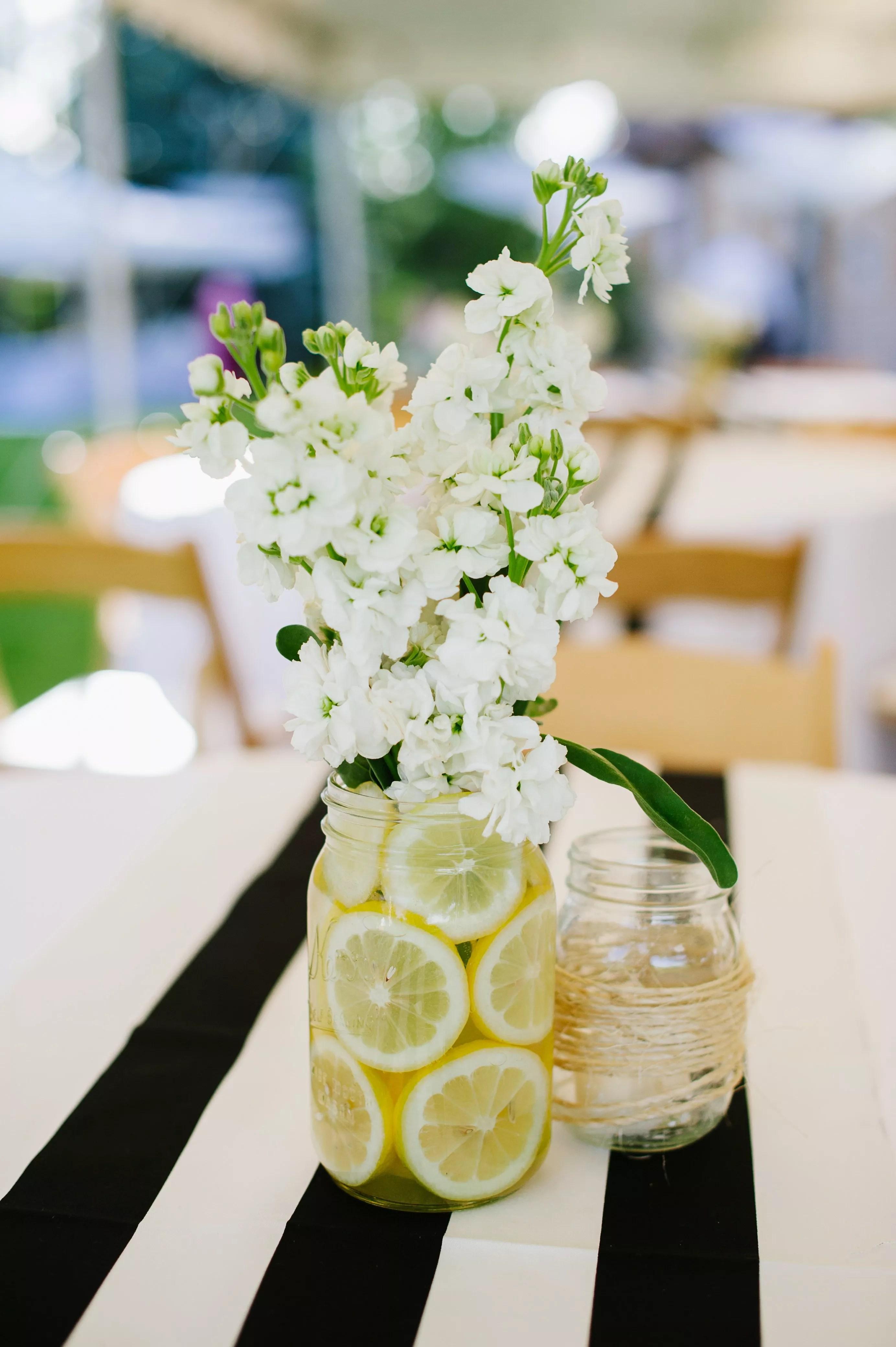 Lemon And Mason Jar Centerpieces