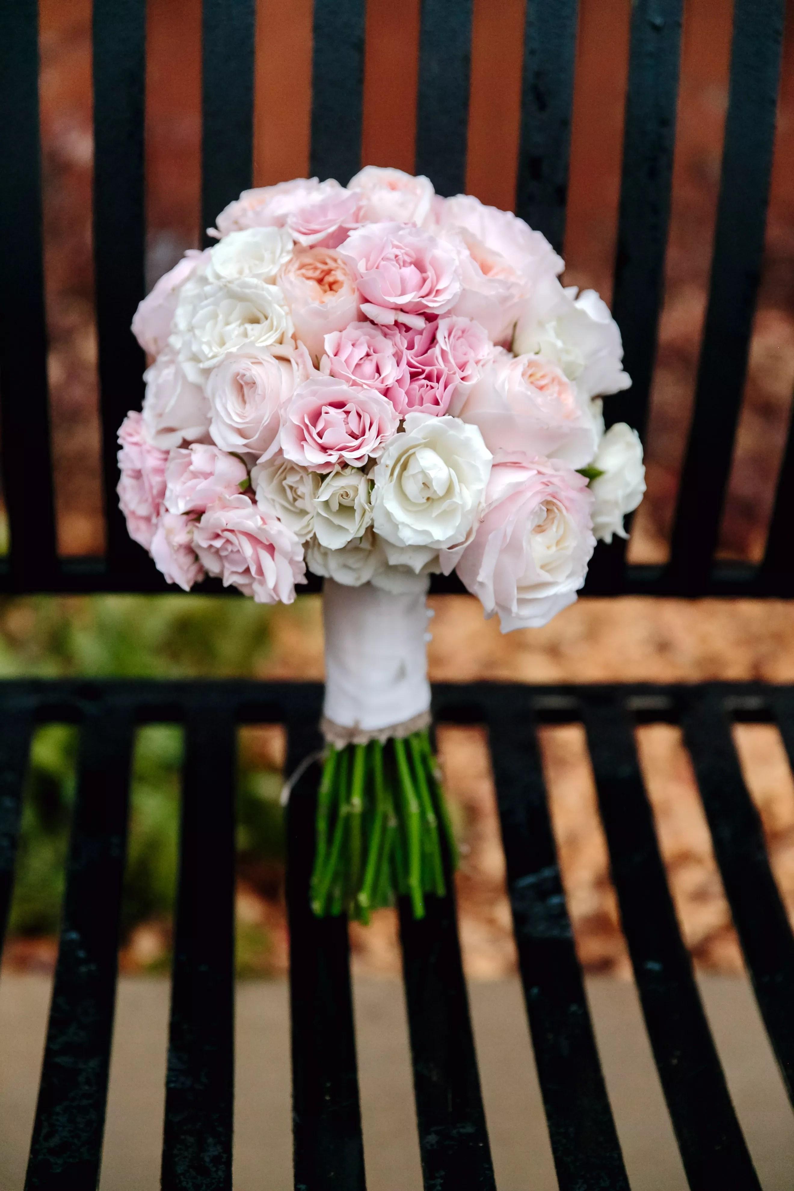 Pale Pink Garden Rose And Carnation Wedding Bouquet