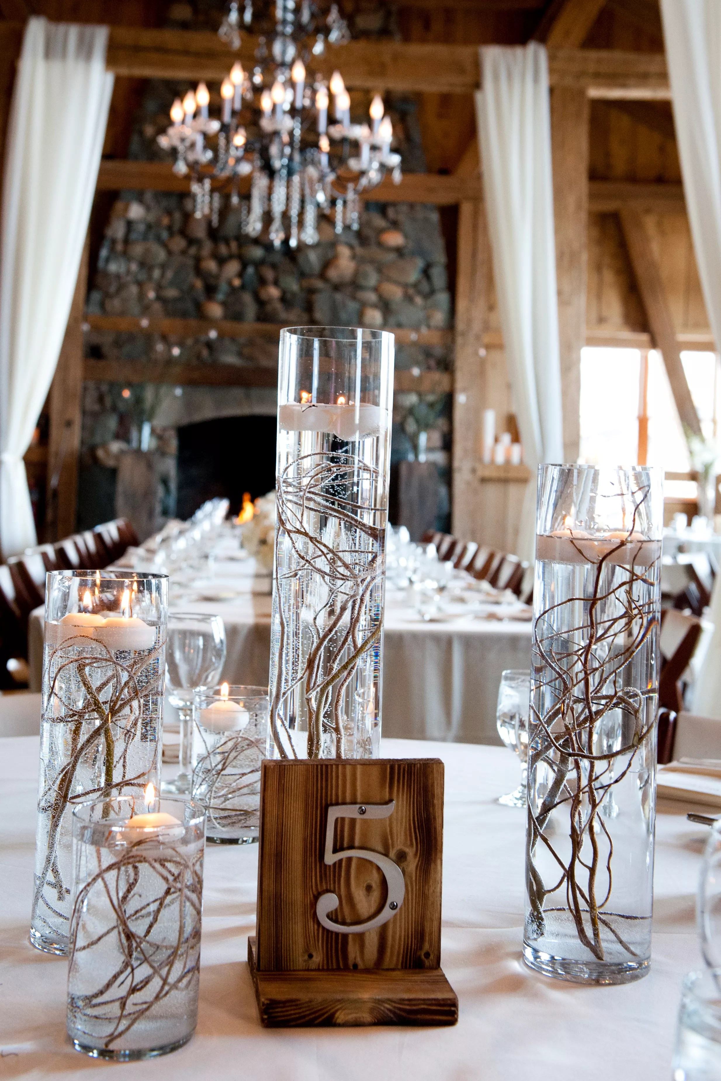 Floating Candle And Willow Branch Centerpieces