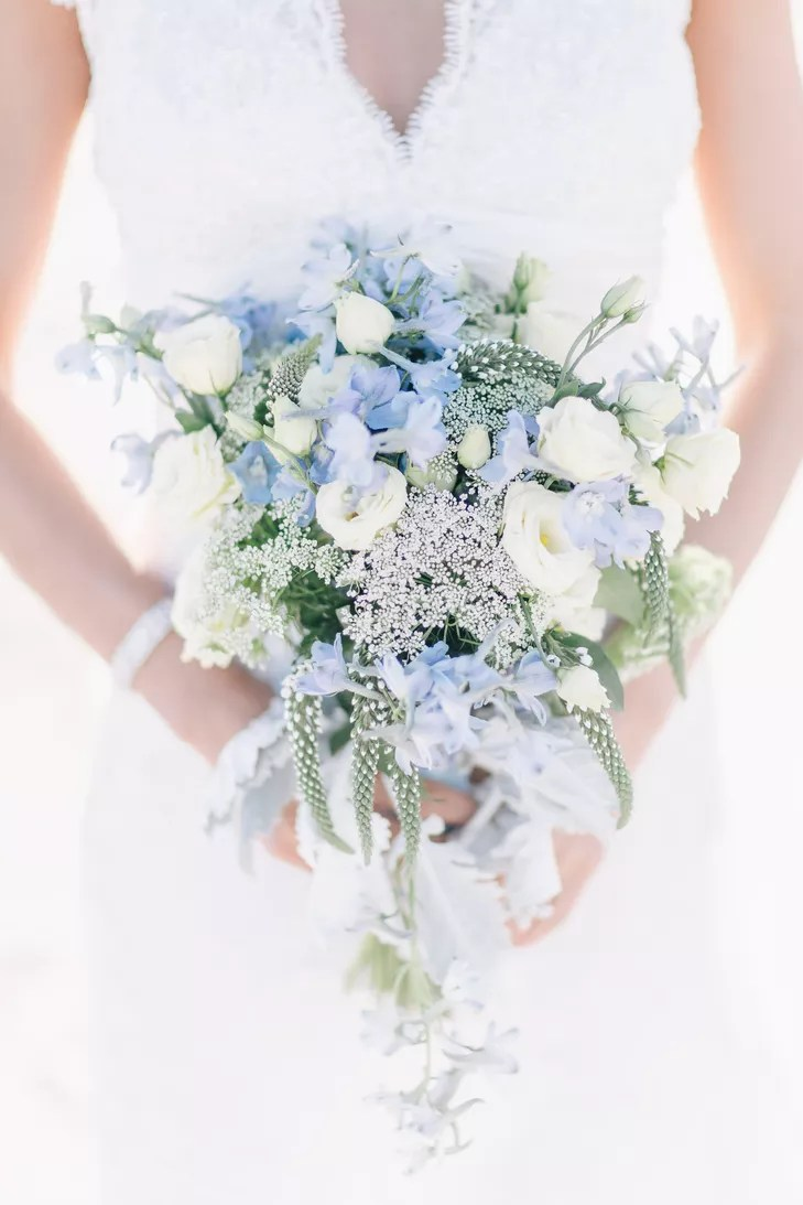 Victorian Blue Flower Wedding Bouquet