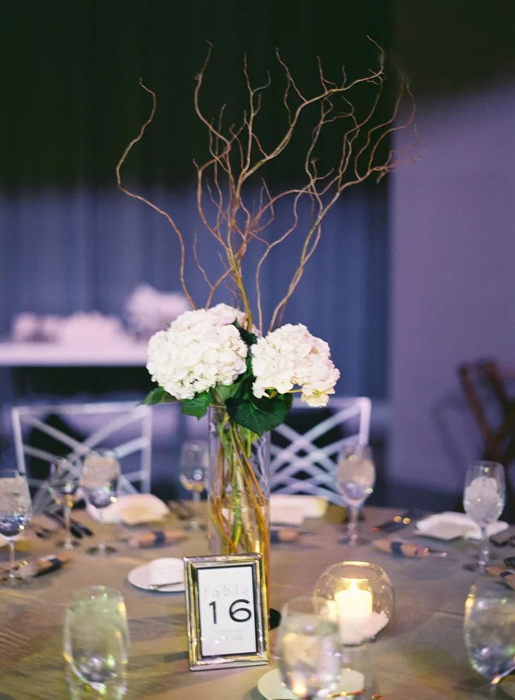 White Hydrangea Curly Willow Centerpieces