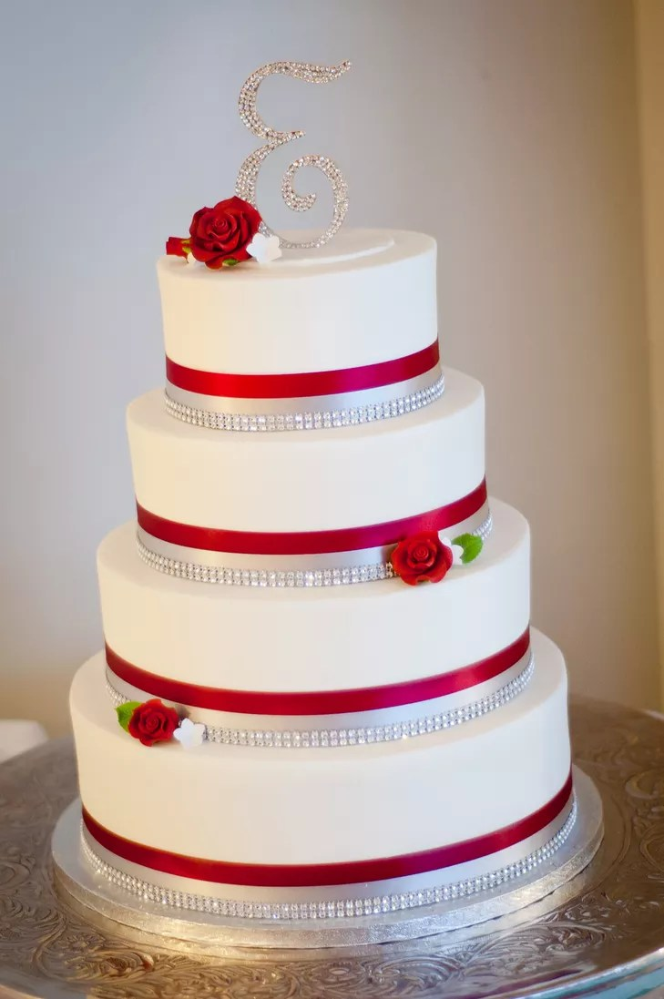 Red  Silver and White Wedding Cake