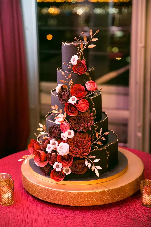 Red Wedding Cakes Burgundy and Gold Fondant Cake with Sugar Flowers