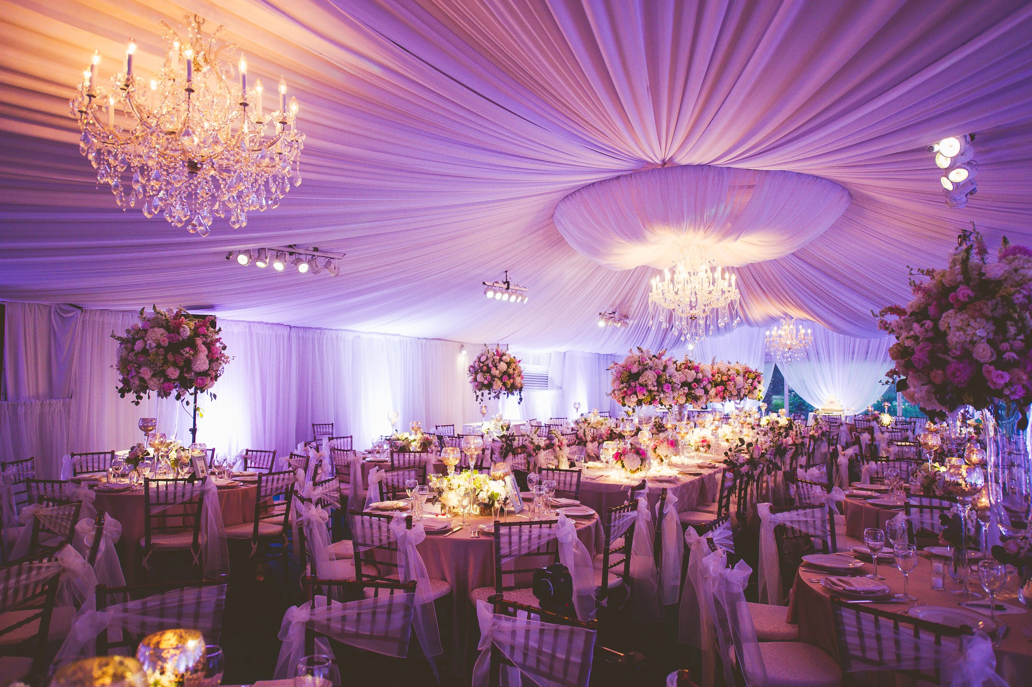 Romantic Elegant Reception Tent With Crystal Chandeliers