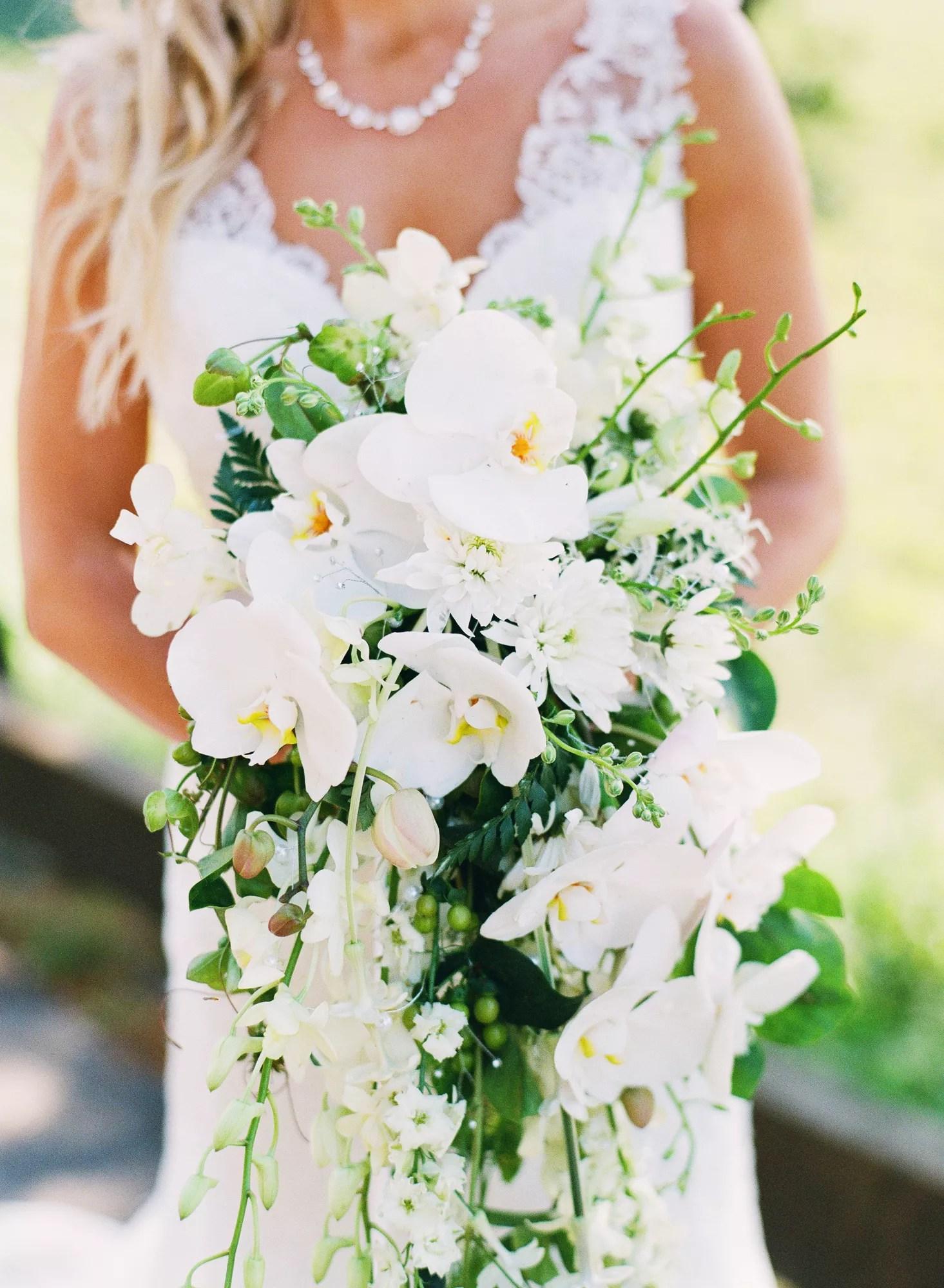 Cascading White Orchid Bridal Bouquet