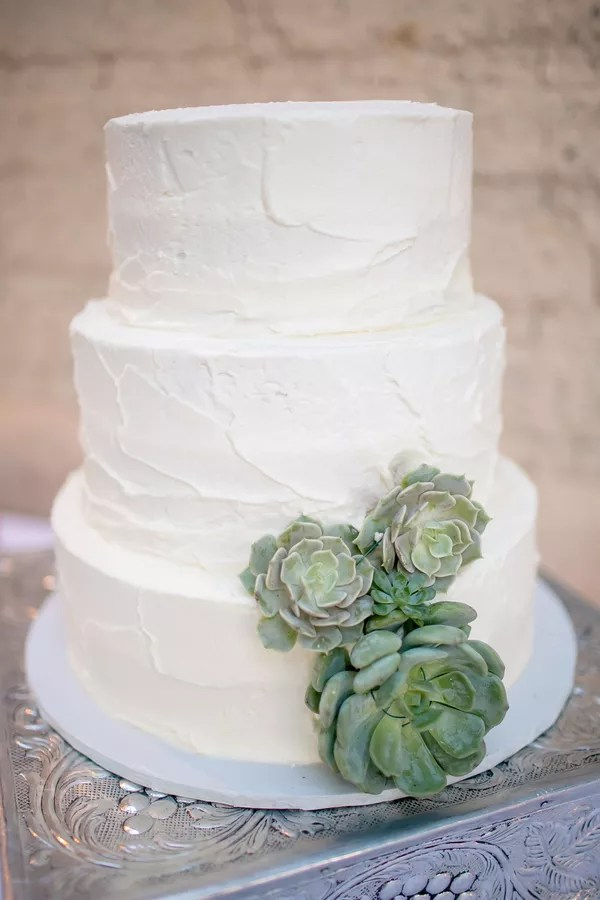 Rustic Succulent Wedding Cakes   Desserts Textured Buttercream Wedding Cake with Succulents
