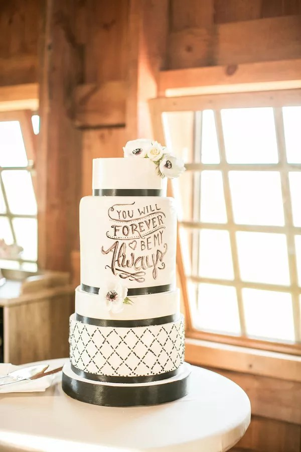 Black and White Wedding Cakes Modern Black and White Cake With Romantic Saying