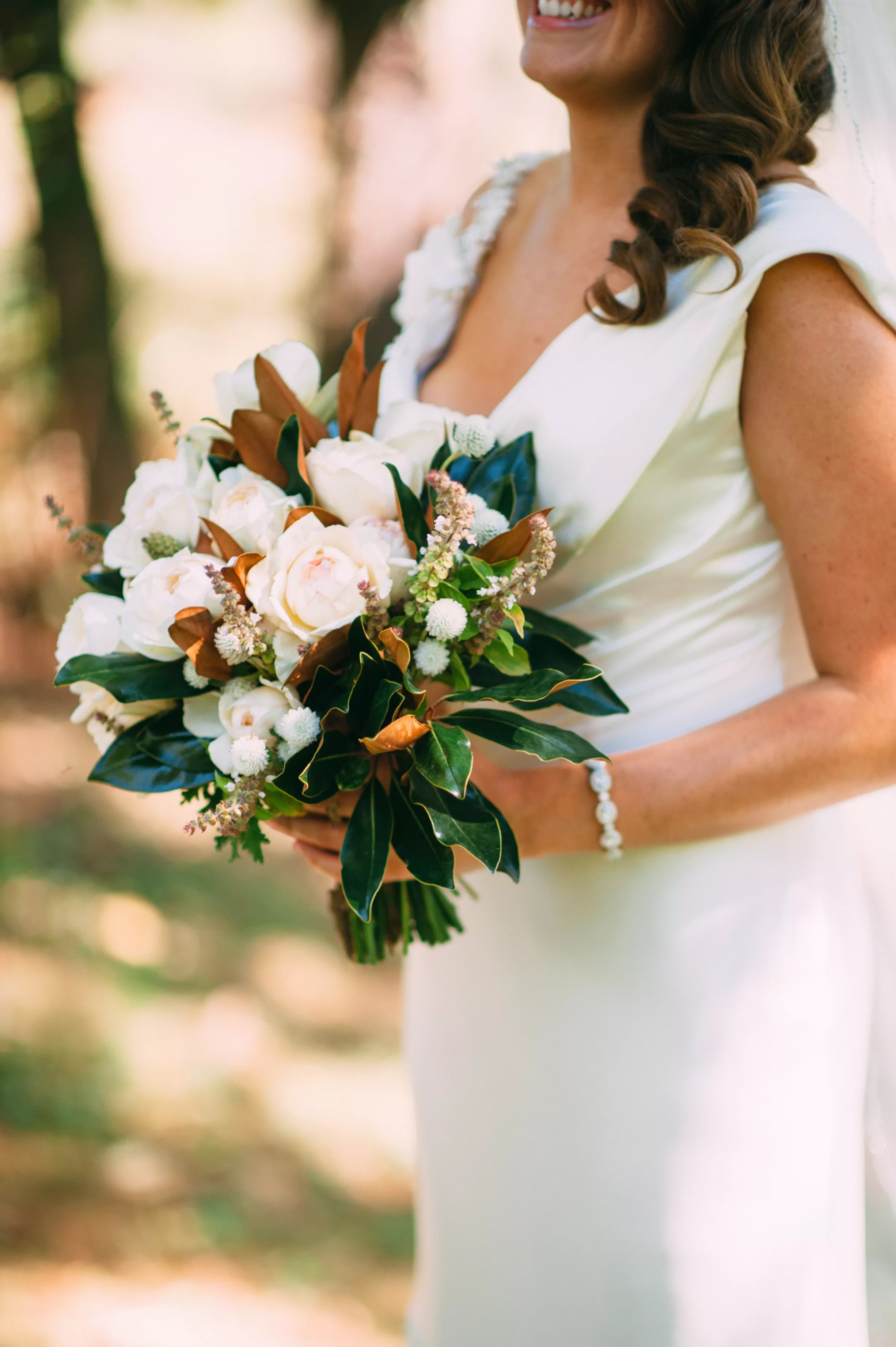 Bouquet With Blush And Ivory Roses White Dahlias And