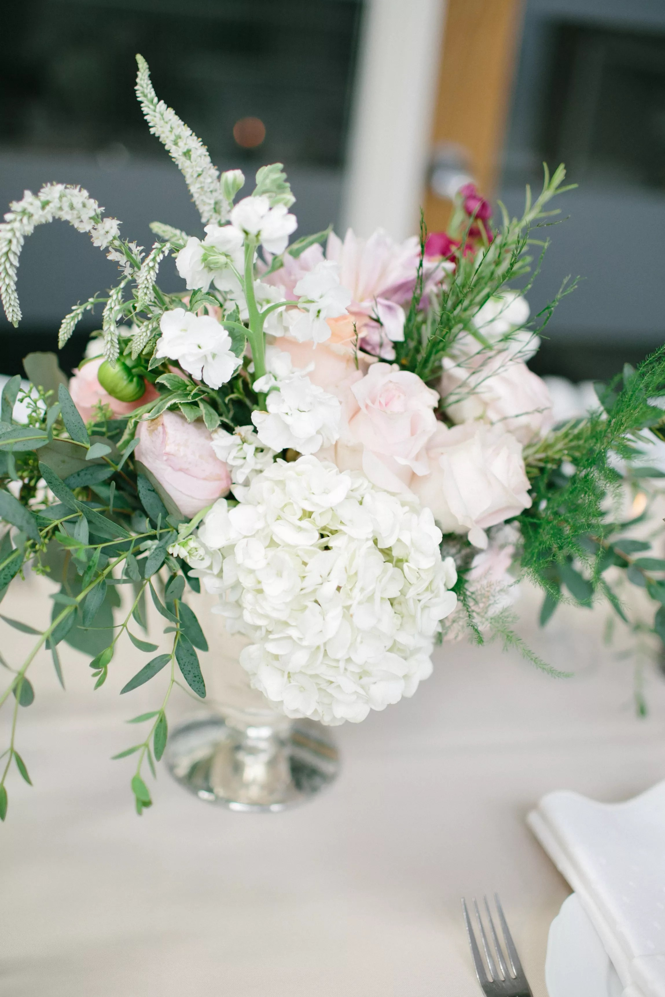 Blush Rose And White Veronica Centerpieces