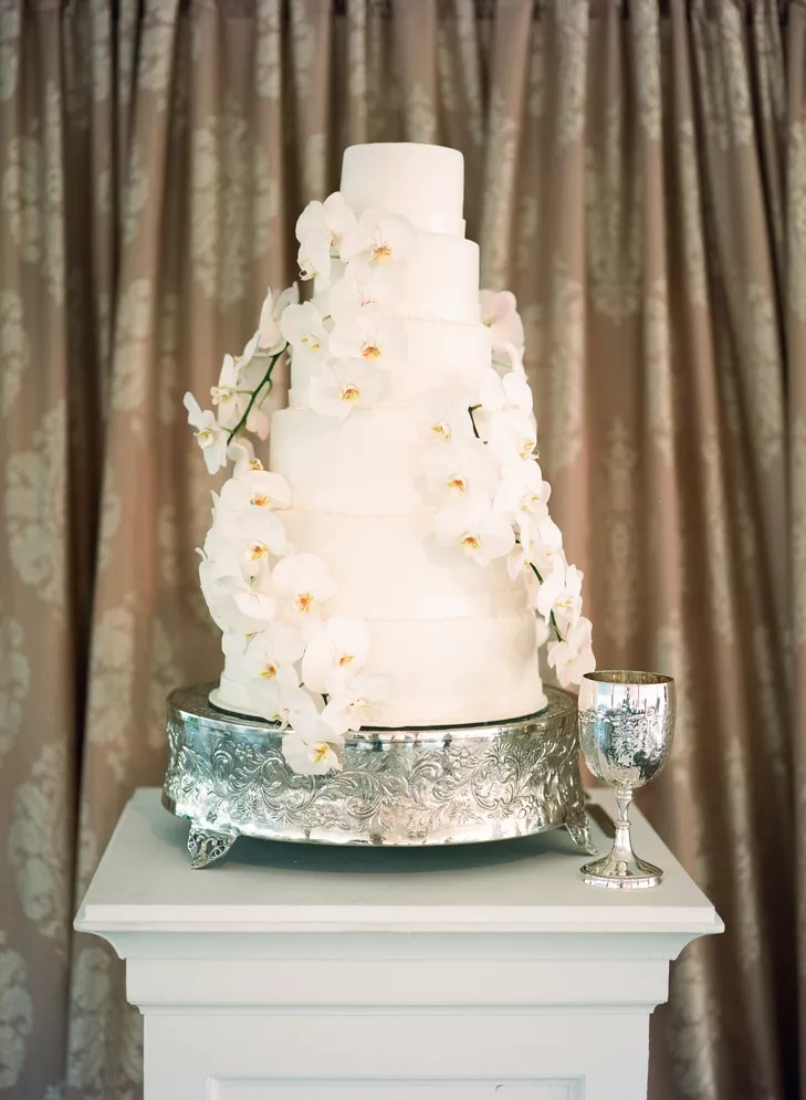White Wedding Cake With White Orchid Cascade