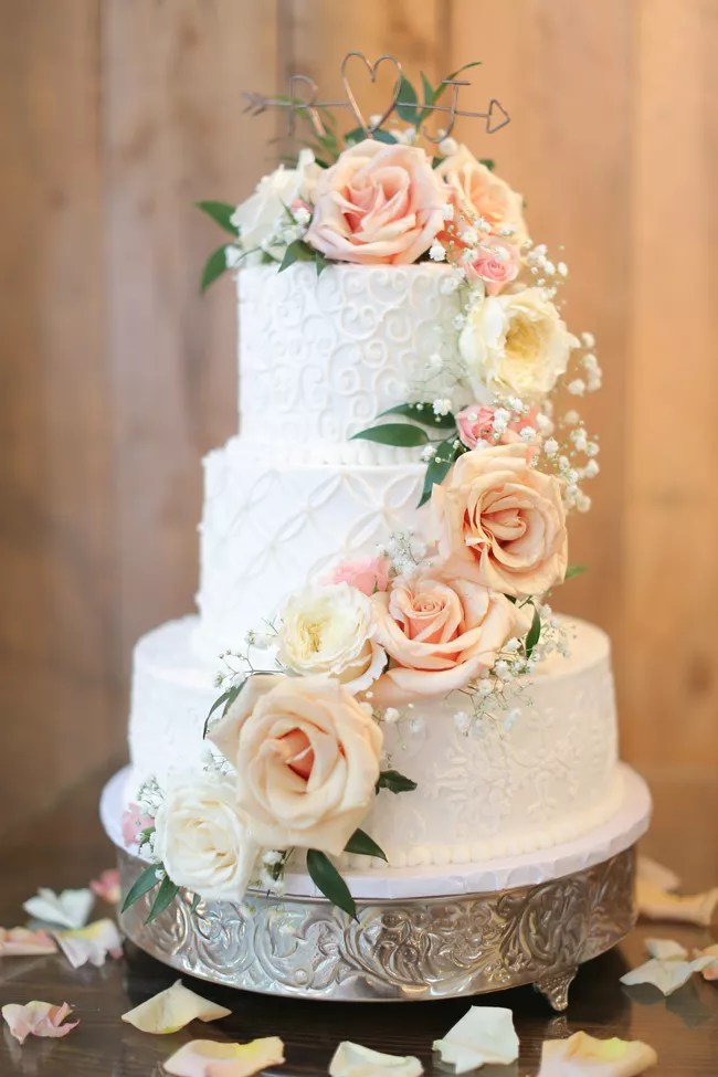 White Buttercream Wedding Cake Garden Roses