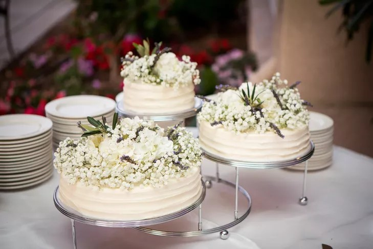 Trio of White Italian Cannoli Wedding Cakes with Ricotta Filling
