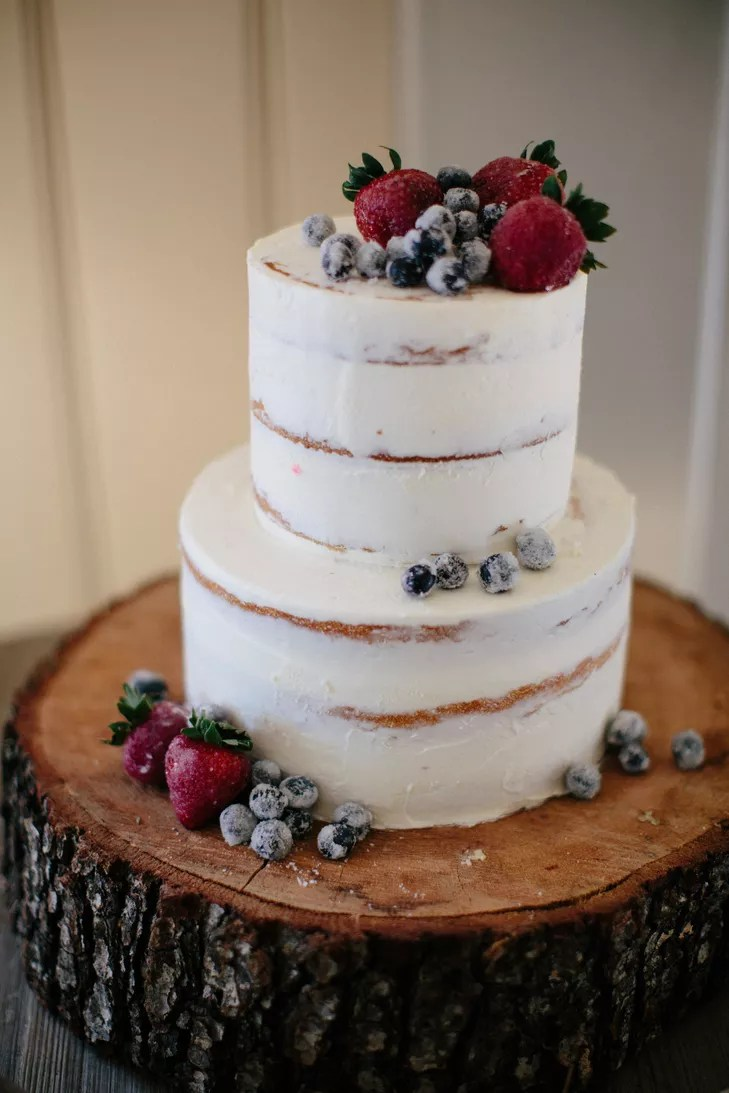 Fresh Fruit Topped Naked Wedding Cake