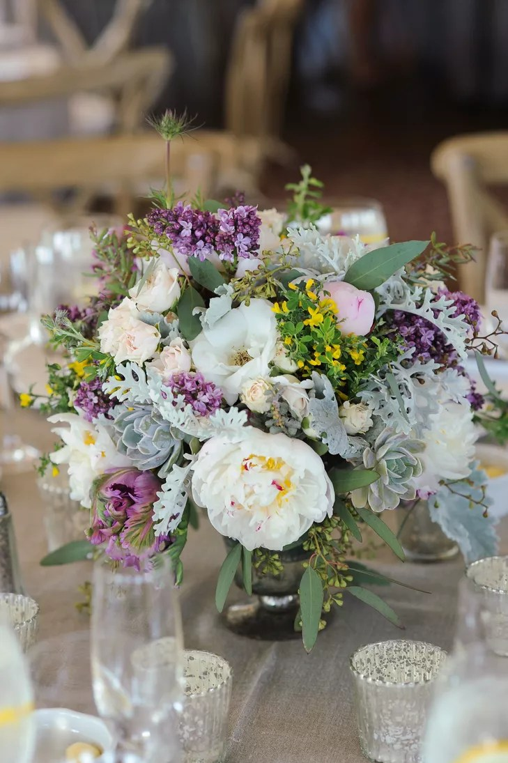 Rustic Purple And White Centerpieces