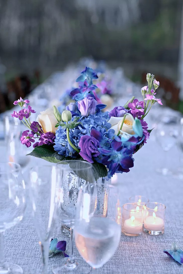 Blue And Purple Flower Centerpieces