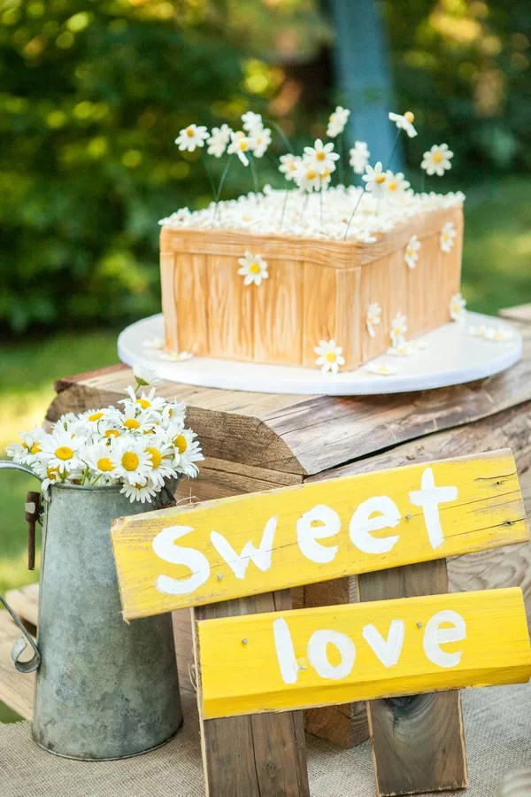 Yellow Wedding Cakes Rustic Wedding Cake with Yellow Signs