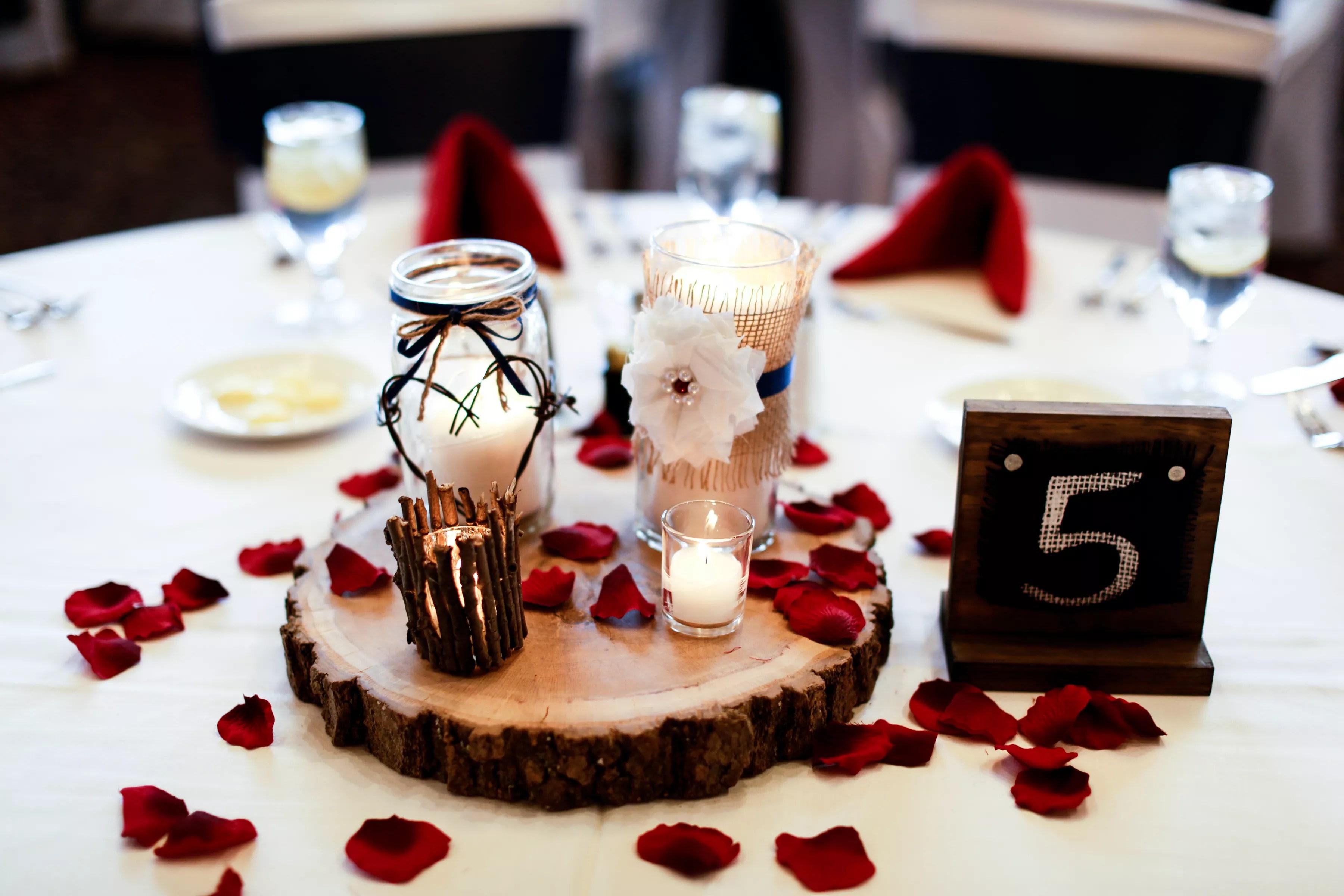 Wood Barbed Wire Burlap Wedding Centerpieces