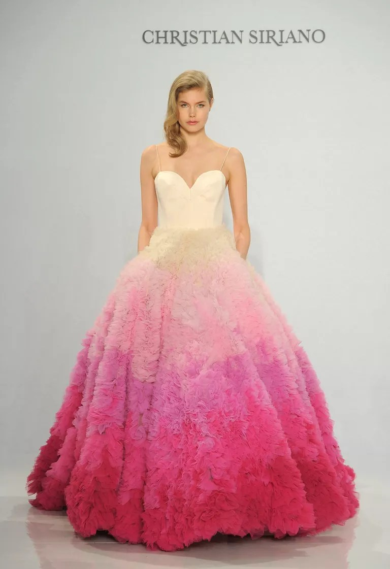 Christian Siriano Spring 2017 pink ombré ball gown wedding dress