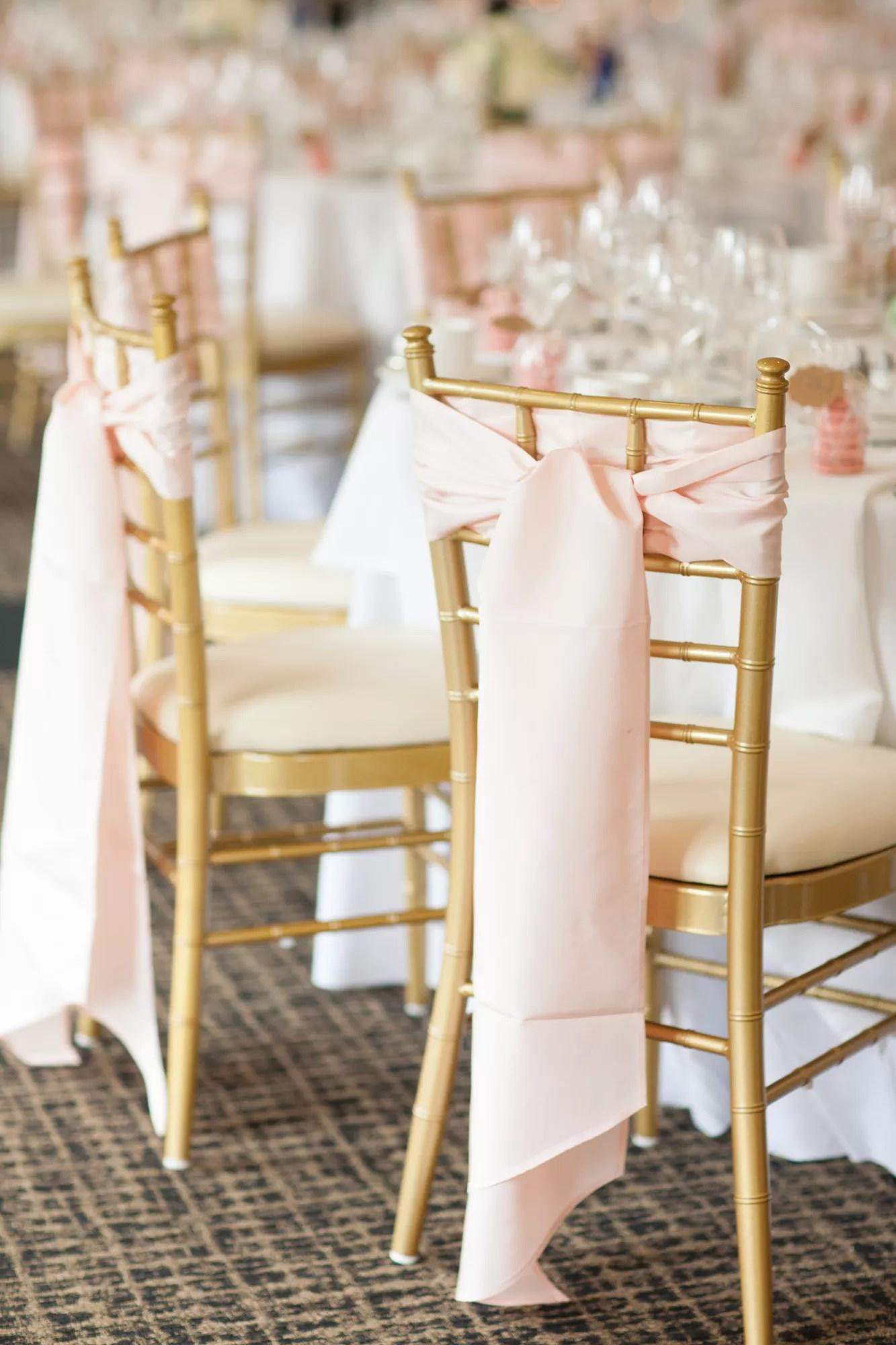 Gold Chiavari Chairs With Blush Sash Ties