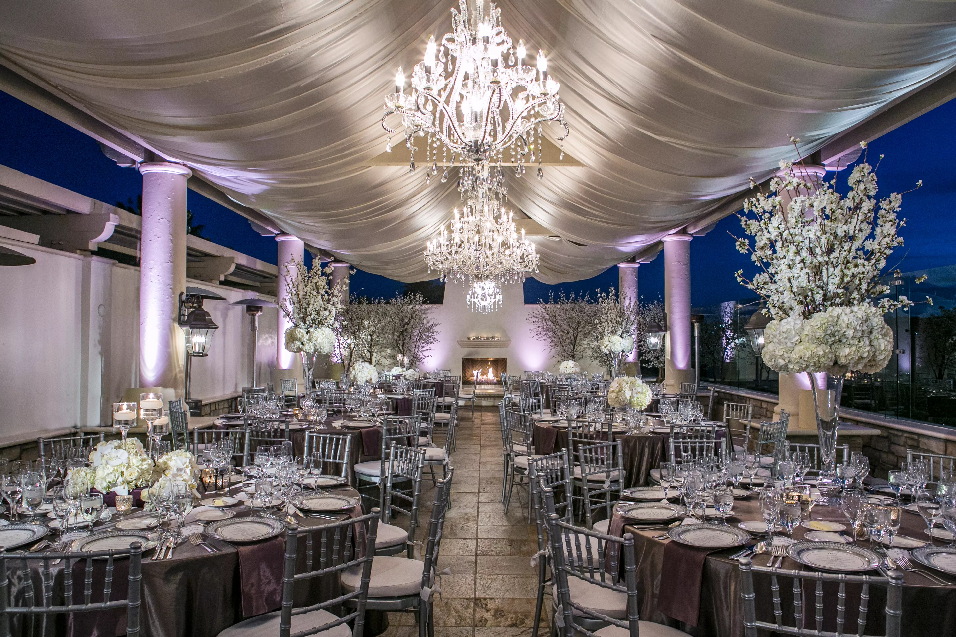 Luxe Purple White And Silver Reception